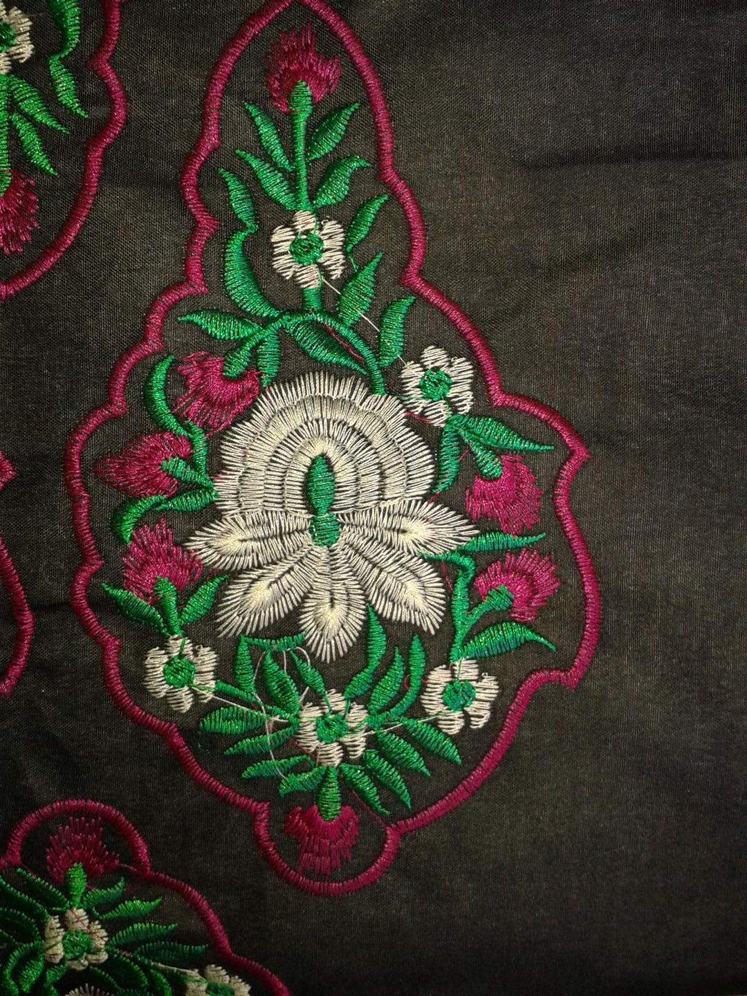 Floral neckline with butta designs embroidery projects